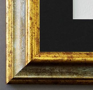 Bilderrahmen Bari Grau Gold mit Passepartout in Schwarz 4, 2 - NEU alle Größen