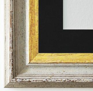 Bilderrahmen Trento Beige Gold mit Passepartout in Schwarz 5, 4 - NEU alle Größen