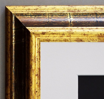 Bilderrahmen Bari Gold Braun Klassisch Passepartout in Weiss 4, 2 - alle Größen