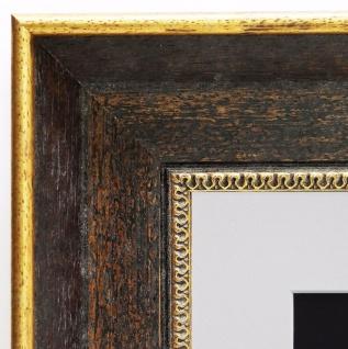 Bilderrahmen Monza dkl. Braun Gold Antik Passepartout in Weiss 6, 7 - alle Größen