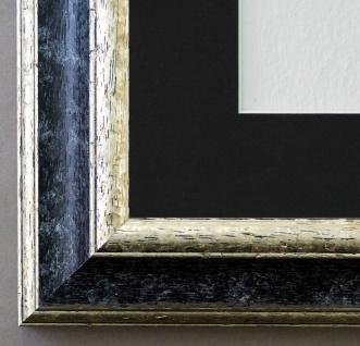Bilderrahmen Genua Schwarz Silber mit Passepartout in Schwarz 4, 3 Top Qualität