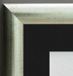 Bilderrahmen Imola Silber geb. Shabby Passepartout in Schwarz 3, 6 - alle Größen
