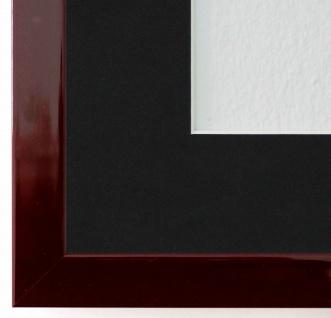 Bilderrahmen Como in dkl. Rot mit Passepartout in Schwarz 2, 0 - NEU alle Größen