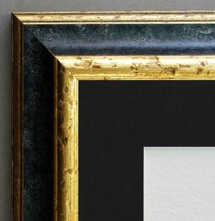 Bilderrahmen Genua Schwarz Gold Antik Passepartout in Schwarz 4, 3 - alle Größen