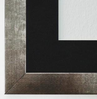 Bilderrahmen Wolfsburg Silber Metall mit Passepartout Schwarz 3, 0 Top Qualität