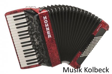 Hohner Amica III 72 Akkordeon rot, Pianotastatur