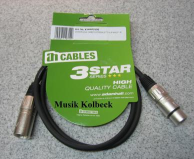 Adam Hall Kabel 3 Star Serie - Mikrofonkabel 1m K3MMF0100, 1 m, Mikrofon