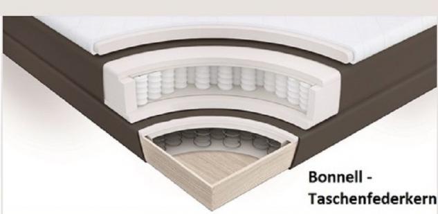 Boxspringbett Isabelle 200 x 200 cm Leder Optik braun Taschenfederkern Matratze - Vorschau 4