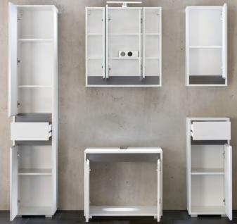 Badmöbel komplett Set Lack Hochglanz weiß und grau 5-teilig SOL hängend - Vorschau 5