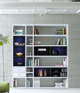 Wohnwand Bücherwand MDor Dekor Lack weiß Hochglanz schwarz LED-Beleuchtung Breite 193 cm