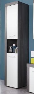 """Badezimmer: Hochschrank """" Miami"""" weiß, rauchsilber (36x184 cm)"""