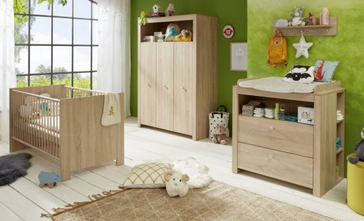 Babyzimmer Olivia komplett Set 3-teilig in Sonoma Eiche hell sägerau mit Wickelkommode Kleiderschrank und Babybett - Vorschau 5