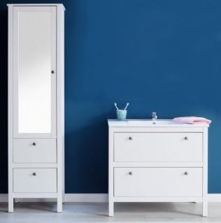 Badmöbel Set Ole weiß Landhaus 3-teilig komplett mit Keramik-Waschbecken - Vorschau 2