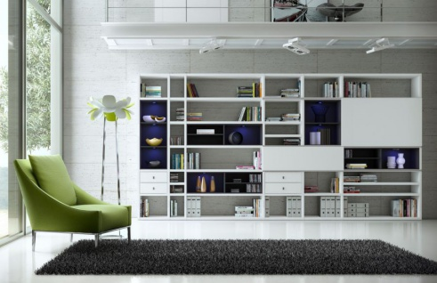 Wohnwand Bücherwand MDor Dekor Lack weiß Hochglanz schwarz LED-Beleuchtung Breite 430 cm