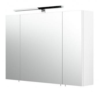 Badezimmer Spiegelschrank Rima in weiß inklusive LED Spiegellampe 90 x 62 cm 3-türig