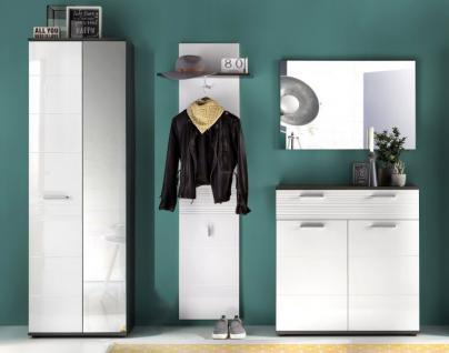 Flurgarderobe komplett Set Smart Hochglanz weiß und grau Dekor 4-teilig - Vorschau 4