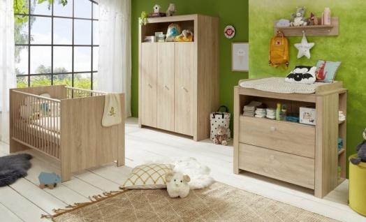 Babyzimmer Olivia komplett Set 5-teilig in Sonoma Eiche hell sägerau mit Wickelkommode Kleiderschrank und Babybett
