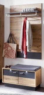 Flur Garderobe Coast Wotan Eiche Dekor und grau Melamin Garderoben Set 2-teilig 84 cm inkl. Beleuchtung