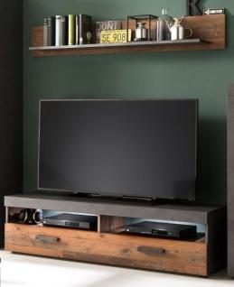 TV-Lowboard und Wandboard Indy in Shabby Vintage mit Matera grau 2-teiliges Set Old Used 139 cm