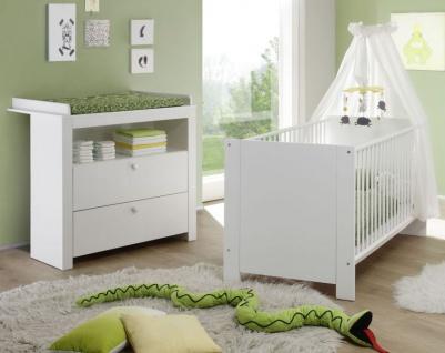 Babyzimmer Olivia in weiß komplett Set 2-teilig mit Wickelkommode und Babybett