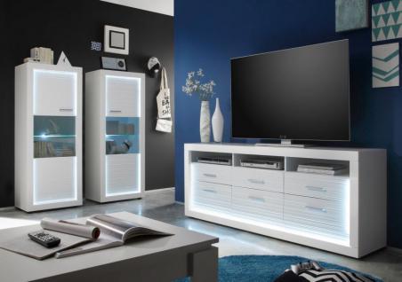 Wohnwand / Schrankwand Starlight weiß Hochglanz mit Rillenoptik inklusive LED-Beleuchtung
