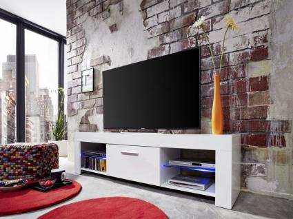 TV-Board Lowboard Rom weiß glänzend mit RGB LED Beleuchtung 160 x 45 cm
