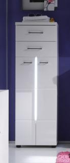 Badezimmerschrank Nightlife halbhoch Hochglanz weiß tiefgezogen inkl. LED Beleuchtung