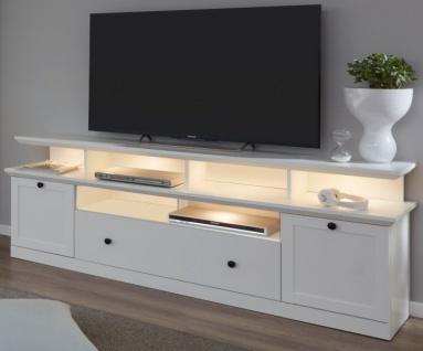 """TV-Lowboard """" Baxter"""" in weiß im Landhausstil inklusive Podest 177 x 65 cm Komforthöhe"""