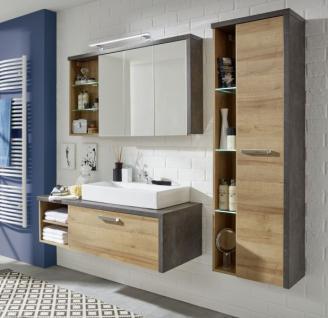 Waschbeckenunterschrank Bay Eiche Riviera Honig und grau Beton Design mit Schubkasten 123 cm - Vorschau 5