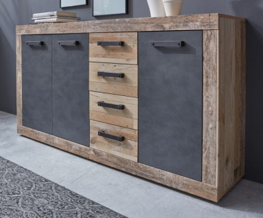 "Kommode "" Tailor"" in Matera grau und Shabby Used Wood hell Sideboard 151 x 86 cm Pale Wood"