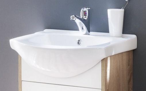 waschbeckenunterschrank komplett mit keramik waschbecken wei und sonoma eiche 50 x 53 cm jersey. Black Bedroom Furniture Sets. Home Design Ideas