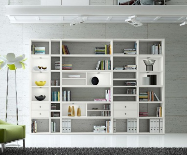 Wohnwand Bücherwand MDor Dekor Lack weiß matt LED-Beleuchtung Breite 311 cm