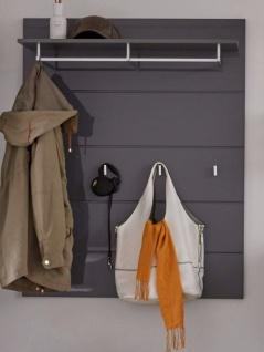 Garderobenpaneel Amanda in Hochglanz grau Wandgarderobe 91 x 120 cm