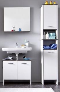 Badmöbel Set California 3-teilig in weiß und Sardegna grau Rauchsilber 112 x 180 cm Badkombination - Vorschau 2