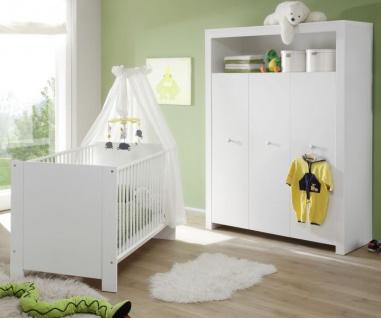 Babyzimmer Olivia in weiß komplett Set 2-teilig mit Kleiderschrank und Babybett