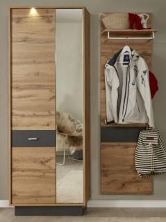 Flur Garderobe Coast Wotan Eiche Dekor und grau Melamin Garderoben Set 2-teilig 191 cm inkl. Beleuchtung