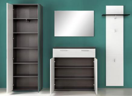 Flurgarderobe komplett Set Smart Hochglanz weiß und grau Dekor 4-teilig - Vorschau 5