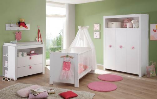Babyzimmer Olivia in weiß komplett Set 5-teilig mit Kleiderschrank Babybett Wickelkommode mit Regal und Wandregal - Vorschau 2