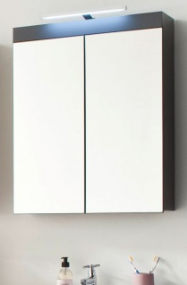 Badmöbel Spiegelschrank Amanda in Hochglanz grau Badschrank 2-türig 60 x 77 cm