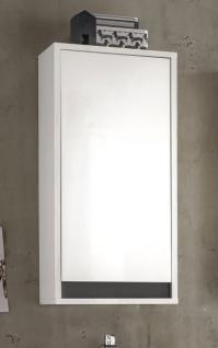 Badezimmer Hängeschrank Sol Hochglanz weiß Lack und grau Dekor