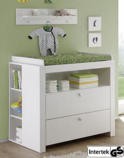Babyzimmer Wickelkommode Olivia mit 2 Regalen weiß 96 x 102 x 76 cm