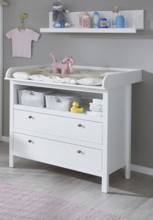 Babyzimmer Ole komplett Set 4-teilig weiß mit Wickelkommode Babybett Kleiderschrank und Wandregal - Vorschau 2