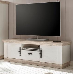 """TV-Lowboard """" Rovola"""" in Pinie weiß / Oslo Pinie Landhaus TV-Unterteil 156 x 51 cm"""