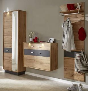 Flur Garderobe Coast Wotan Eiche Dekor und grau Melamin Garderoben Set 3-teilig 239 cm inkl. Beleuchtung