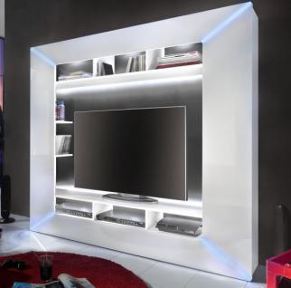 Mediencenter Race Hochglanz weiß mit LED RGB Beleuchtung 186 cm