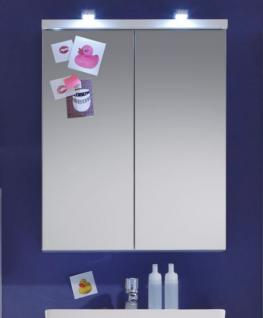 Badezimmer Spiegelschrank Nightlife Hochglanz weiß tiefgezogen 65 x 80 cm Spiegelleuchte IVO
