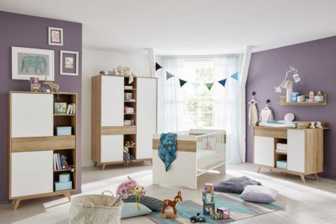 Babyzimmer Komplett Set Boston In Weiß Und Eiche Riviera Honig 5 Teilig