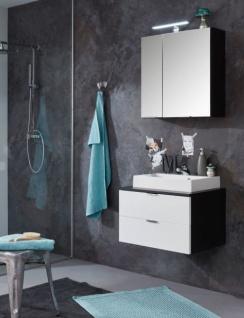 Badmöbel Set Concept1 Hochglanz weiß und Graphit grau 3-teilig komplett mit Waschbecken 60 x 192 cm - Vorschau 5