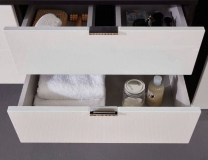 Badmöbel Set Concept1 Hochglanz weiß und Graphit grau 3-teilig komplett mit Waschbecken 60 x 192 cm - Vorschau 4