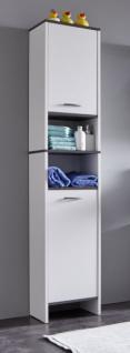 Badezimmer Hochschrank California in weiß und Sardegna grau Rauchsilber 32x180 cm